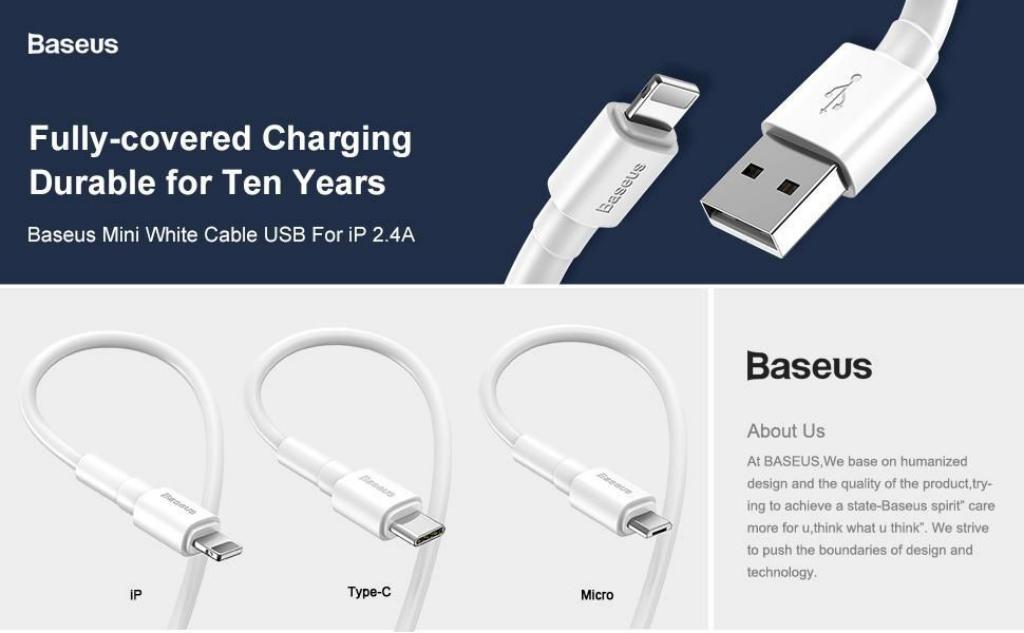 Baseus Mini White Cable USB For Type-C
