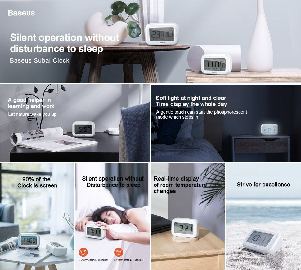 Baseus Multifunctional Silent Desktop Subia Clock (2)