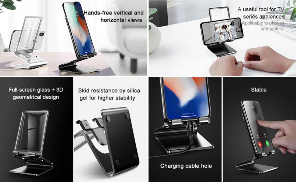 Baseus Suspension Glass Desktop Bracket Mobile Phone Pad Holder (1)