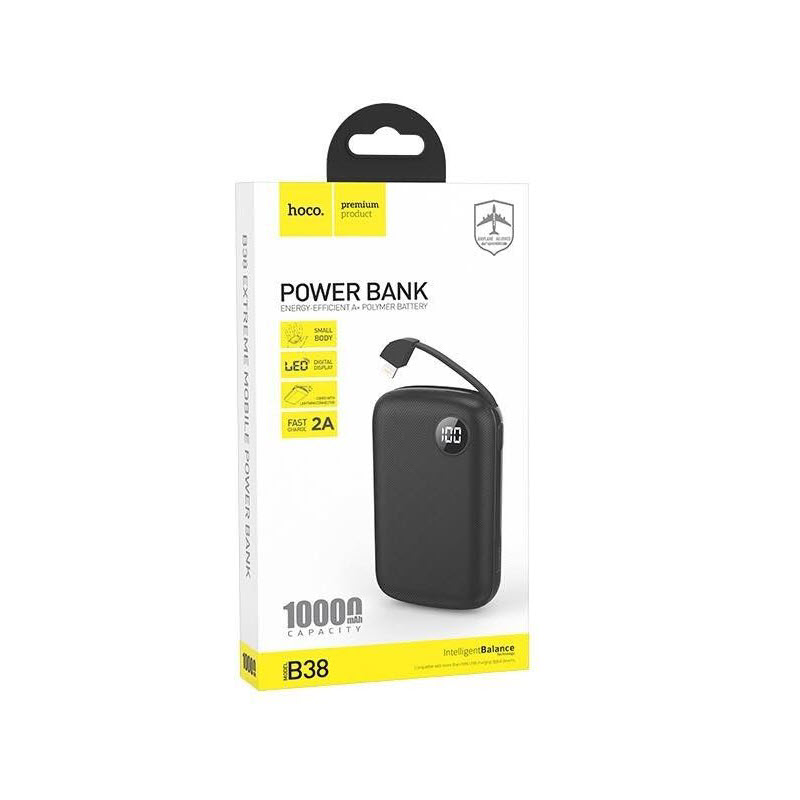 Hoco B38 10000mah Power Bank With Built In Lighting Cable (2)