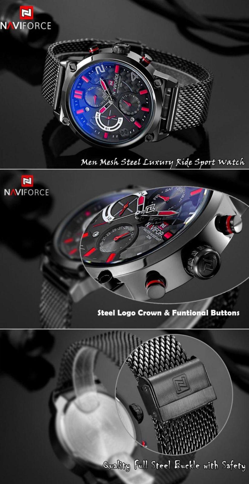 Naviforce 9068 Stainless Steel Strap Quartz Watches (2)