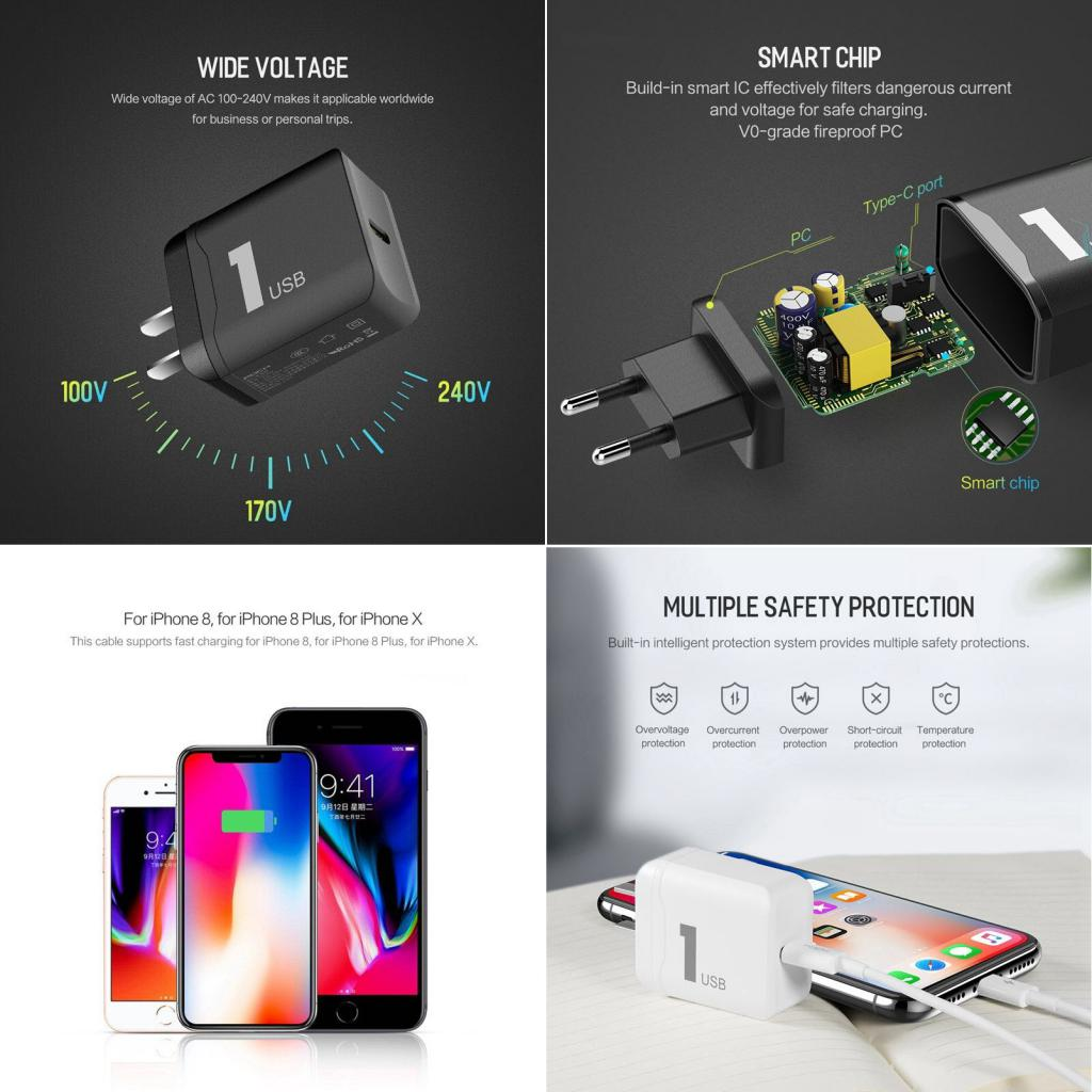 Rock 18w Pd Fast Charger With Type C To Lightning Cable For Iphone (2)