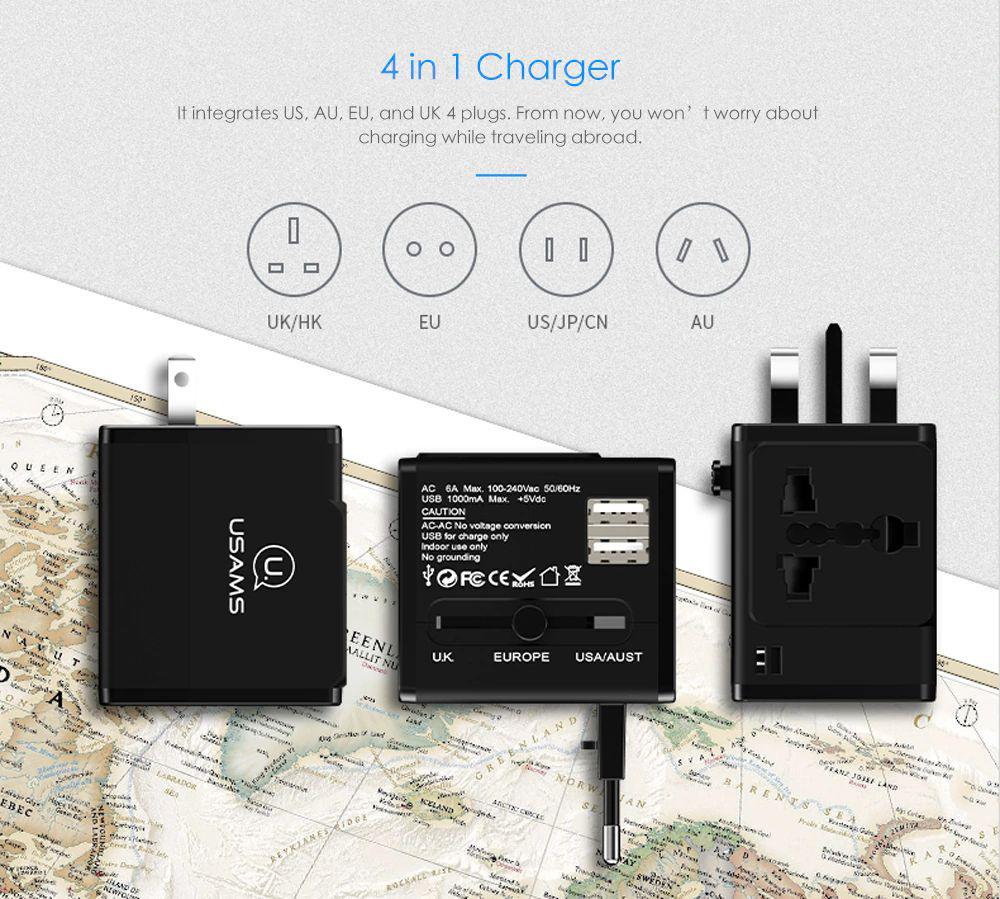 Usams T2 Dual Usb Universal Travel Charger (1)