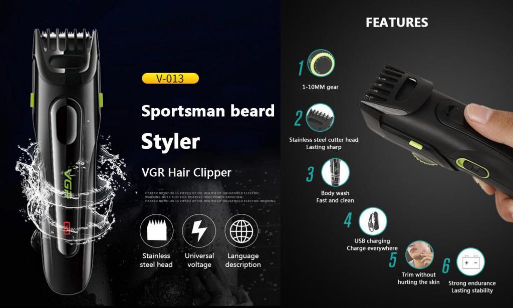 Vgr V013 Rechargeable Hair Beard Trimmer Kit (3)