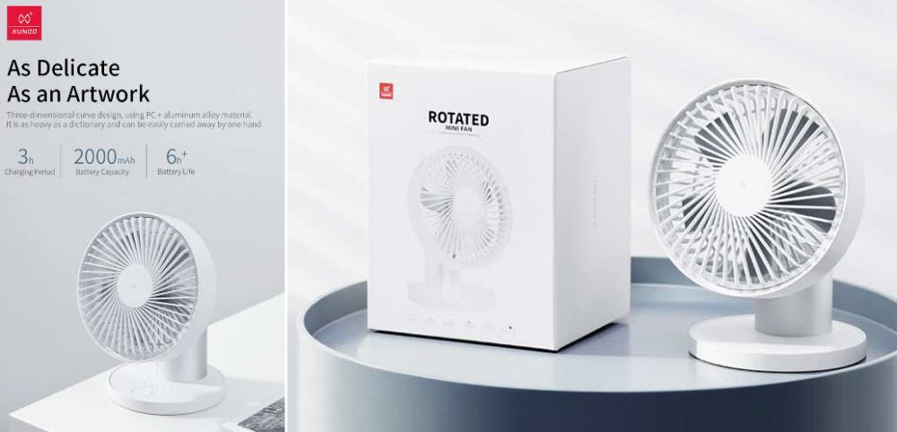 Xundd 2000mah Rotating Rechargeable Fan (2)