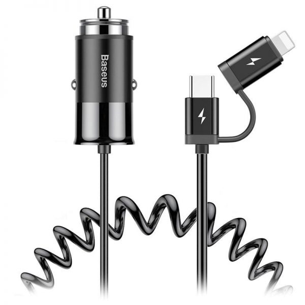 Baseus Enjoy Together 2 In 1 Car Charger Type C Lightning