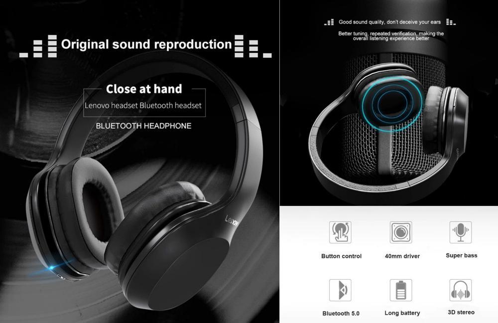 Lenovo Hd100 Wireless Bluetooth 5 0 Headphones (3)