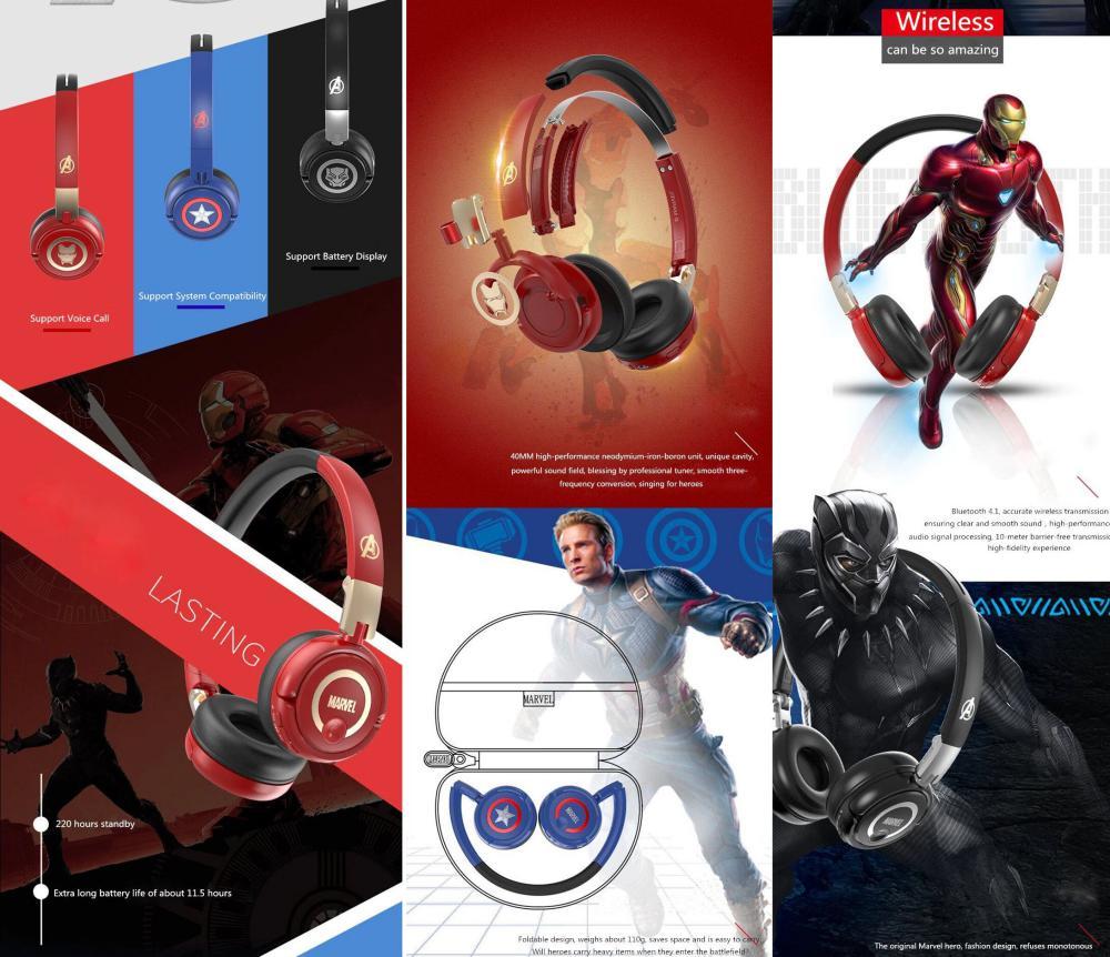 Marvel Avengers Wireless Bluetooth Headphones Captain America Iron Man Black Panther (7)