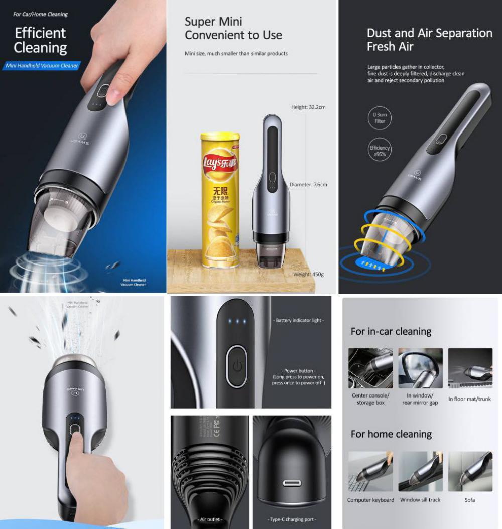 Usams Mini Handheld Wireless Vacuum Cleaner (1)