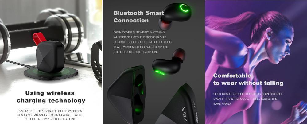 Whizzer B6 Tws Bluetooth 5 0 Earbuds Ipx7 Waterproof (1)