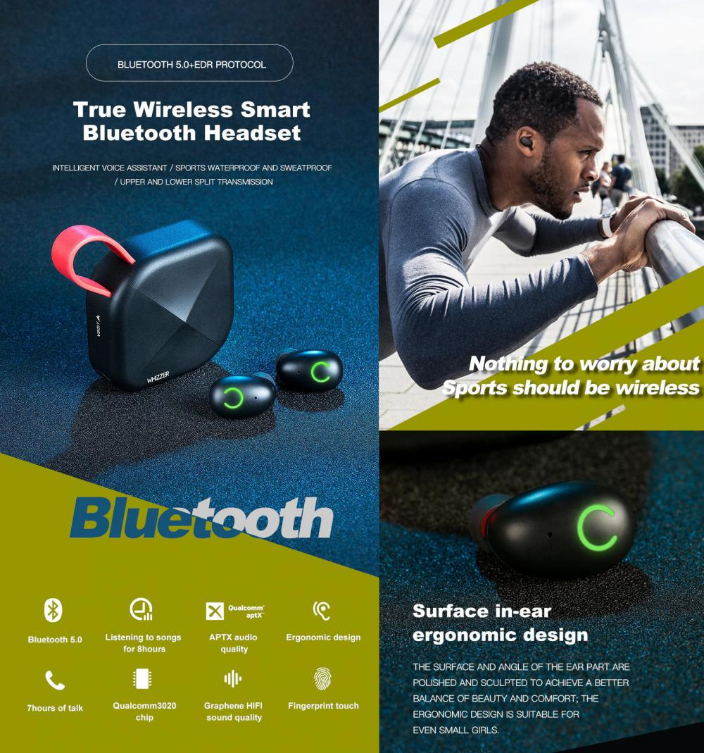 Whizzer B6 Tws Bluetooth 5 0 Earbuds Ipx7 Waterproof (2)