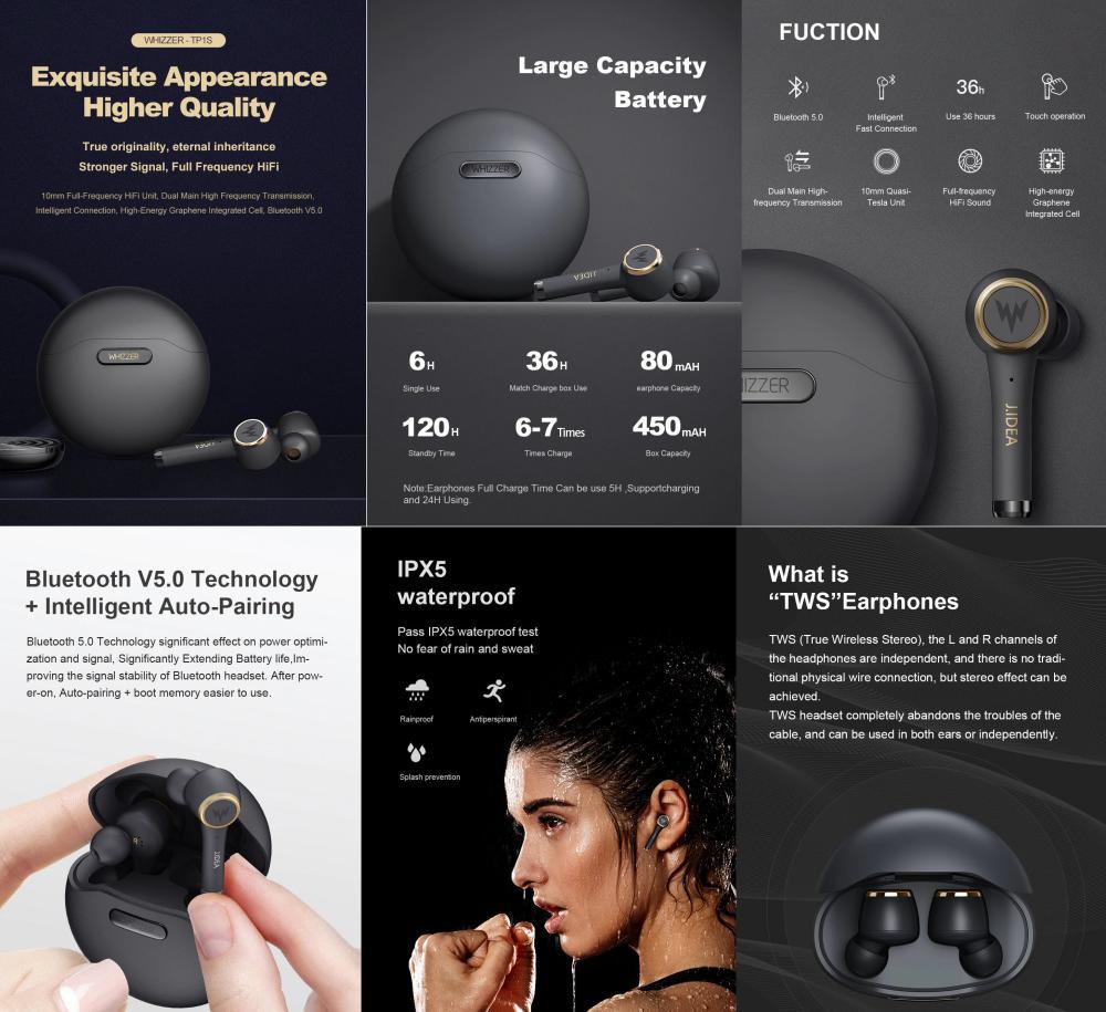 Whizzer Tp1s True Wireless Earphones Tws Earbuds (2)