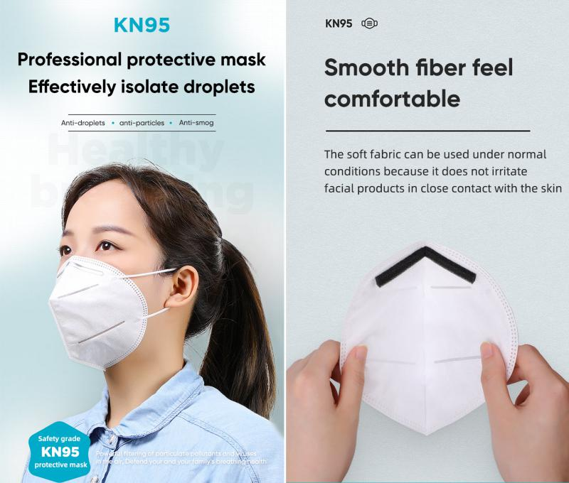 Kn95 Ffp2 Disposable 4 Ply Protective Face Mask 5pcs