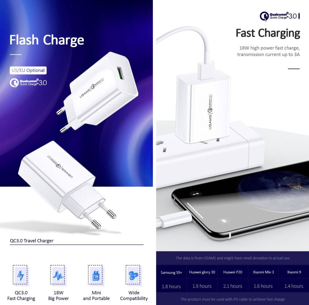 Usams T22 18w Qc3 0 Fast Charging Charger (2)