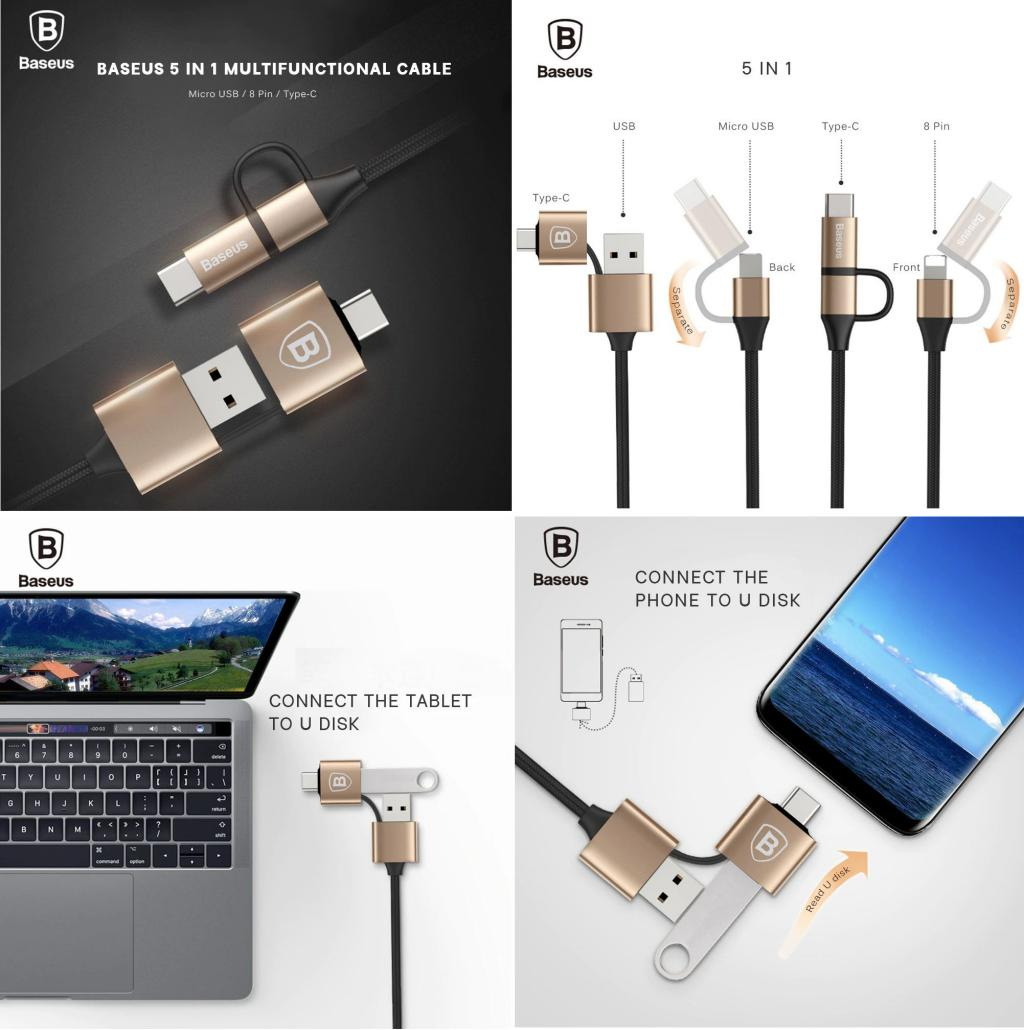 Baseus 5 In 1 2a Charging Cable Multifunctional Data Cable Micro Usb Lightning Type C (1)