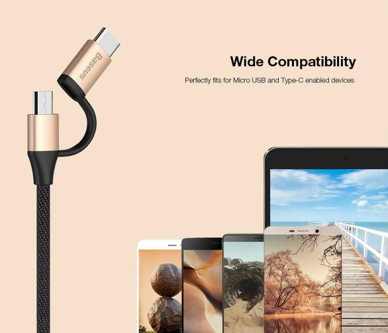 Baseus Yiven 2 In 1 Micro Usb Type C Cable (1)