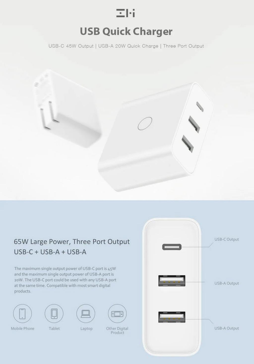 Xiaomi Zmi 65w Usb Type C Quick Charger Adapter (1)