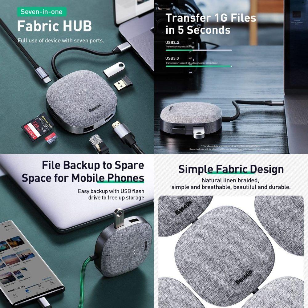 Baseus Fabric Series 7 In 1 Type C Multifunctional Hub (3)