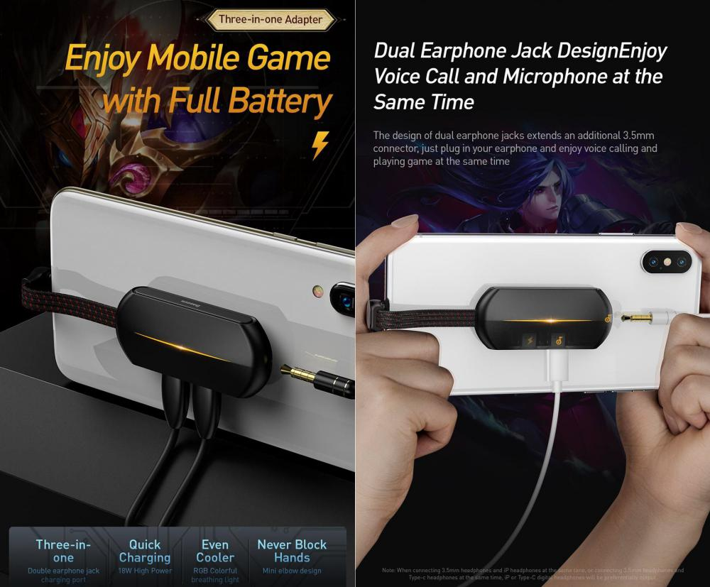 Baseus Gamo L47 Lightning Audio Adapter 2x Lightning With 3 5mm Jack (2)