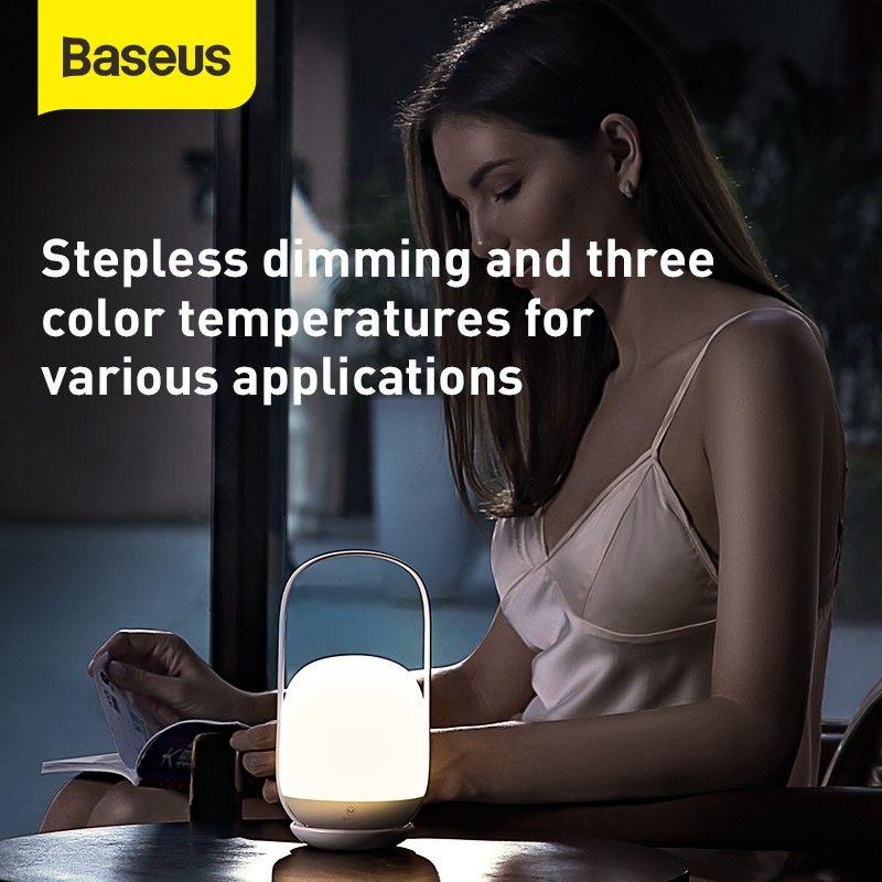 Baseus Moon White Three Step Colour Dimming Portable Lamp (2)