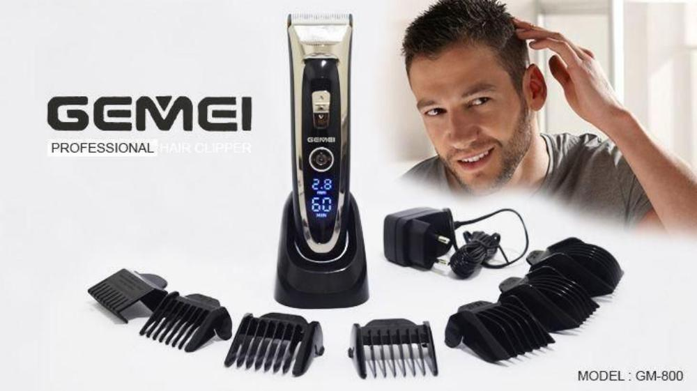 Gemei Gm 800 Rechargeable Hair Trimmer With Digital Display (1)