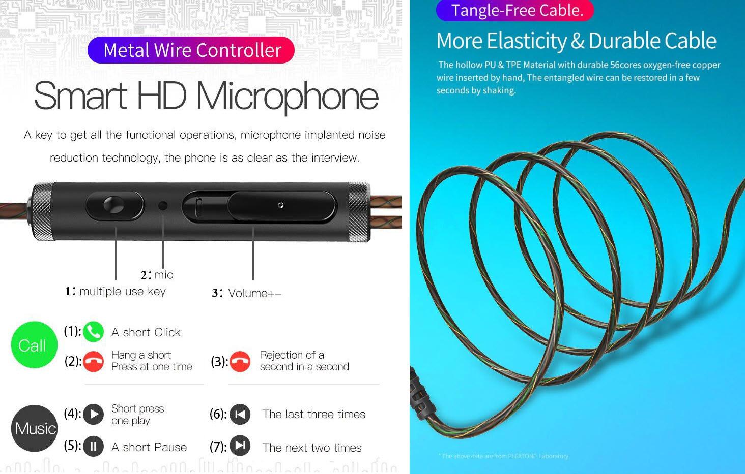 Plextone Dx2 Wired Stereo In Ear Earphones (2)