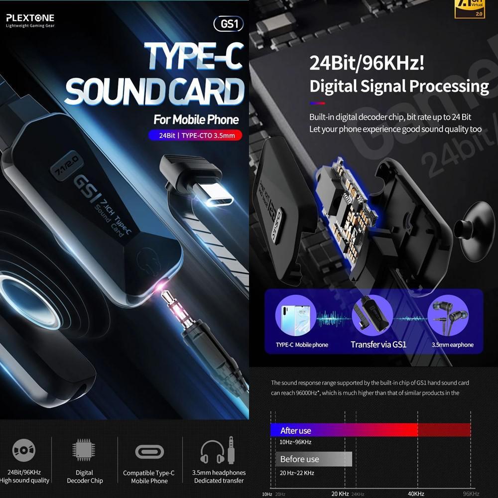 Plextone Gs1 Virtual 7 1ch Sound Card Type C To 3 5mm (5)