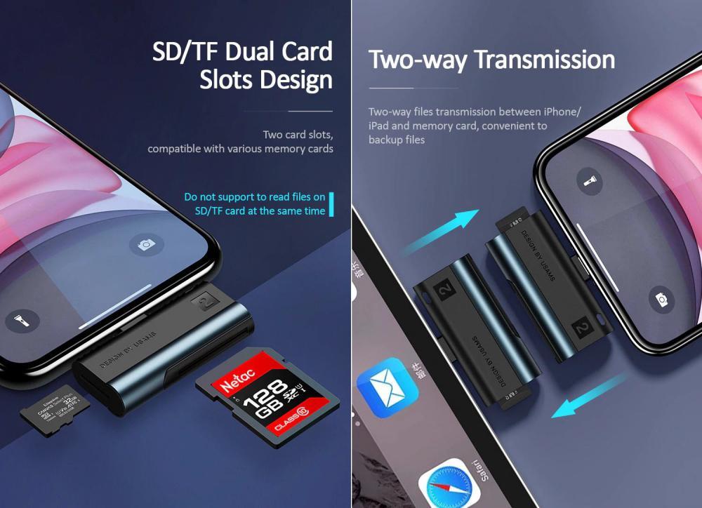 Usams Us Sj430 Lightning Port Card Reader Sd Cardtf Card (3)
