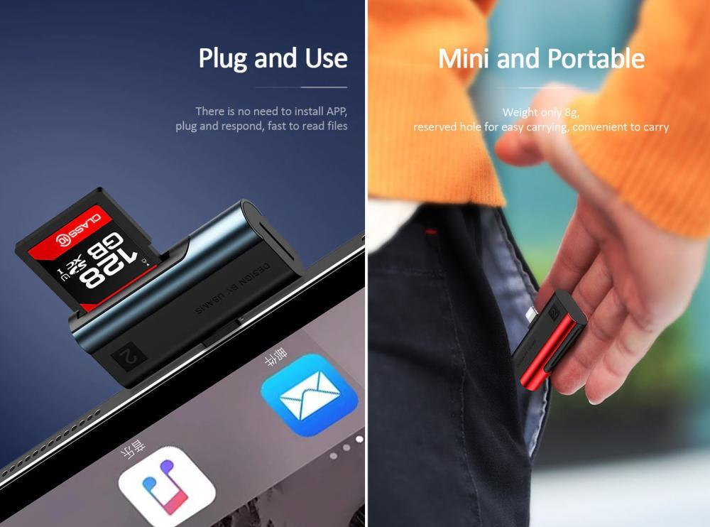 Usams Us Sj430 Lightning Port Card Reader Sd Cardtf Card (4)