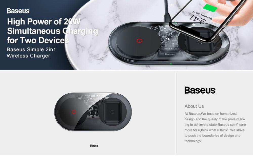Baseus Simple 2 In 1 Wireless Charger Turbo Edition 24w With Adapter Cable (4)