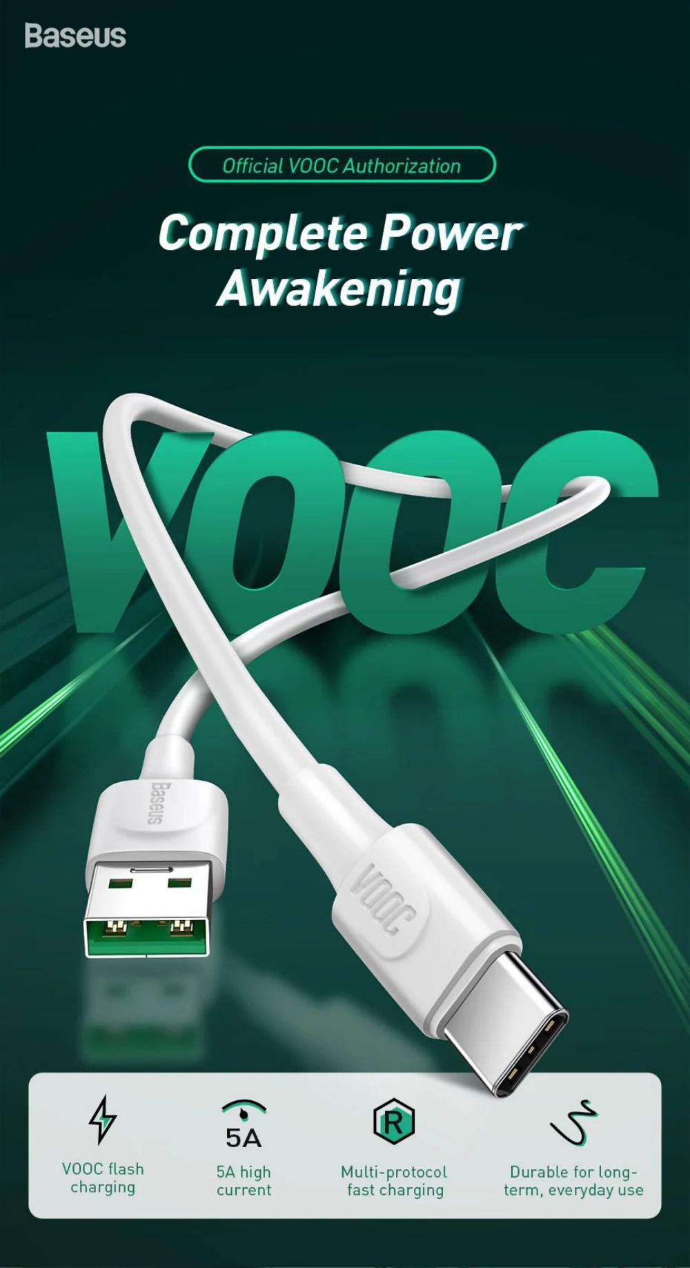 Baseus White Series Vooc Flash Charge Usb For Type C Cable (1)