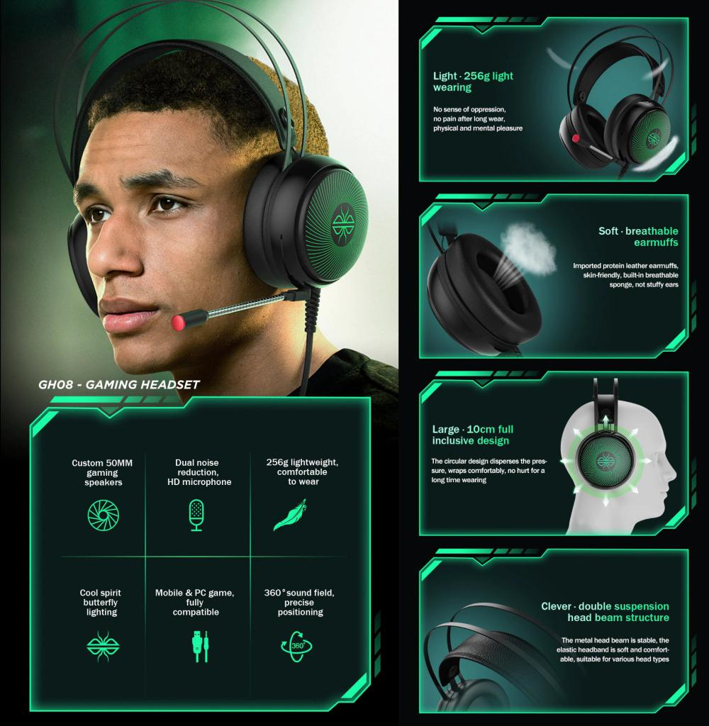 Dacom Gh08 Gaming Headset With Led Light Hd Mic (4)