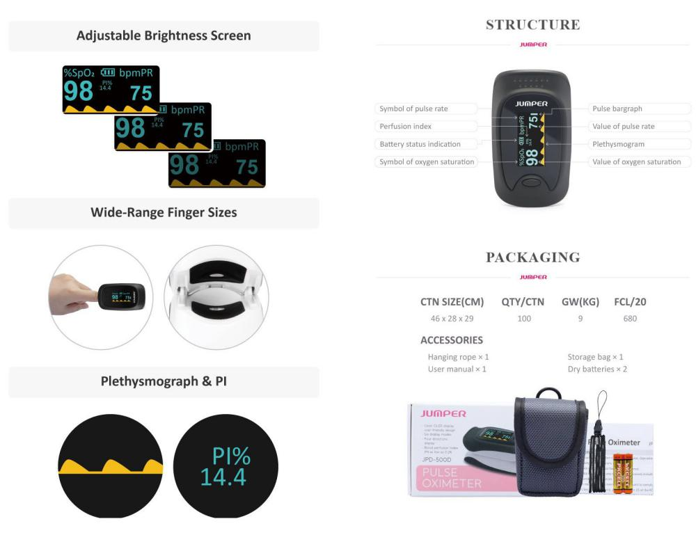 Jumper Jpd 500d Oled Version Blood Oxygen Saturation Monitor (1)