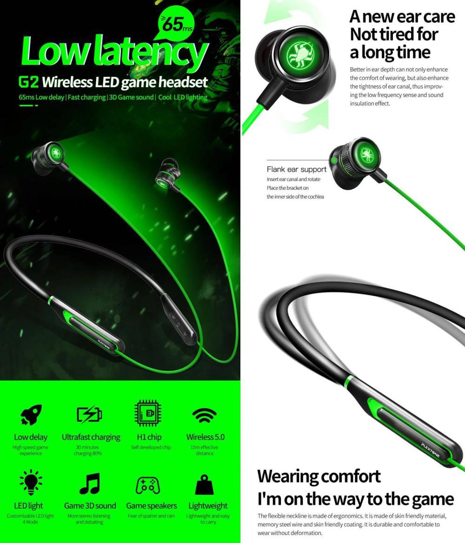 Plextone G2 Virtual 7 1ch Game 3d Sound Effect Gaming Wireless Earphone Wireless (2)