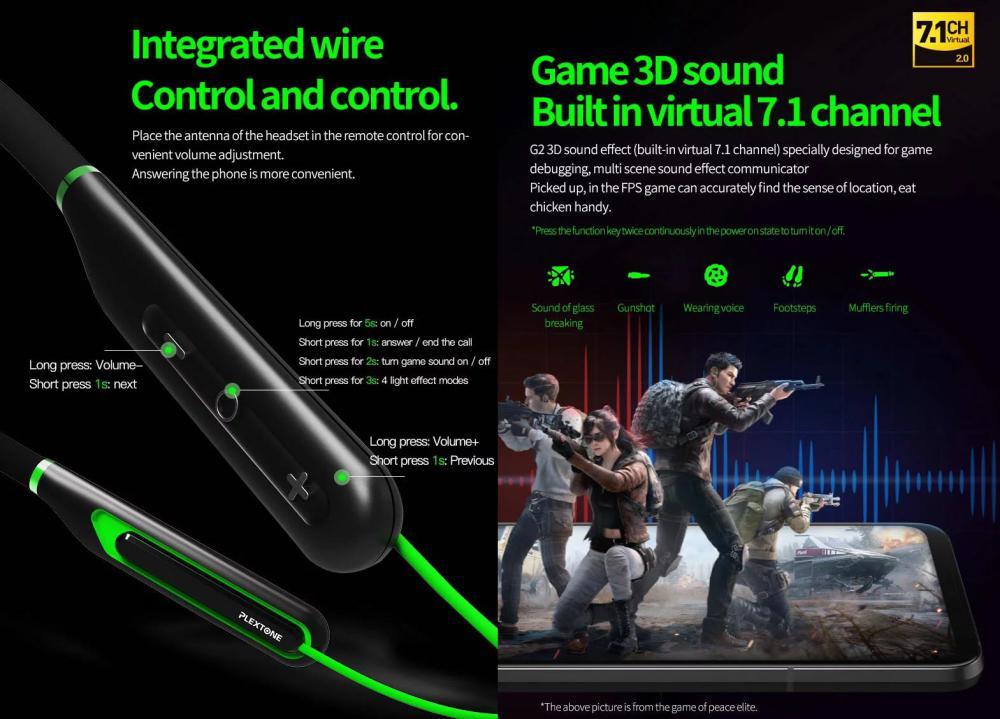 Plextone G2 Virtual 7 1ch Game 3d Sound Effect Gaming Wireless Earphone Wireless (4)