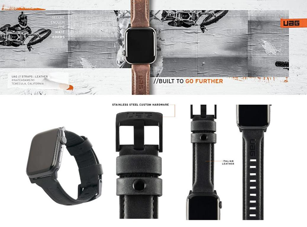 Uag Leather Strap For Apple Watch 42mm 44mm (3)