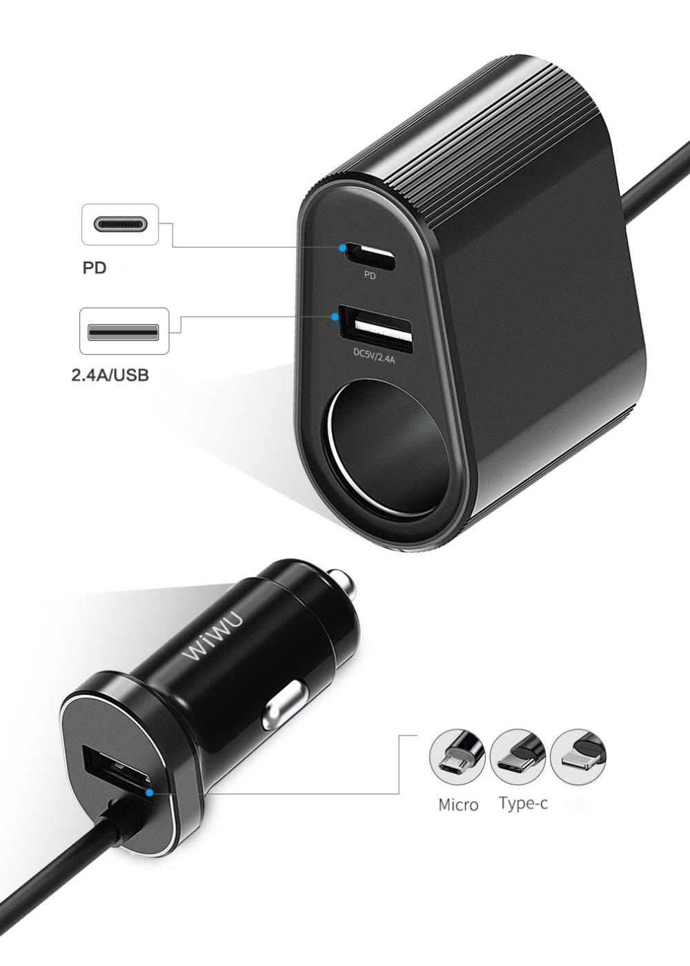 Wiwu Qc300 Multi Functional Car Charger With Extension Cable (1)