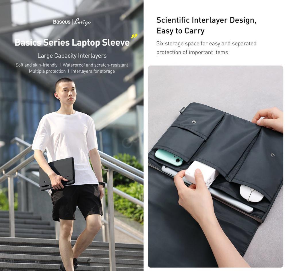 Baseus Basics Series Laptop Sleeve For Notebook Compurter (2)