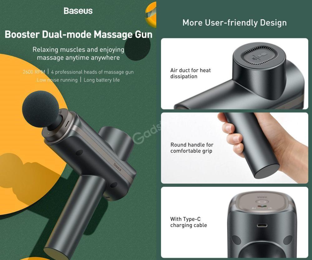 Baseus Dual Mode Massage Gun Muscle Relaxer Massager (2)