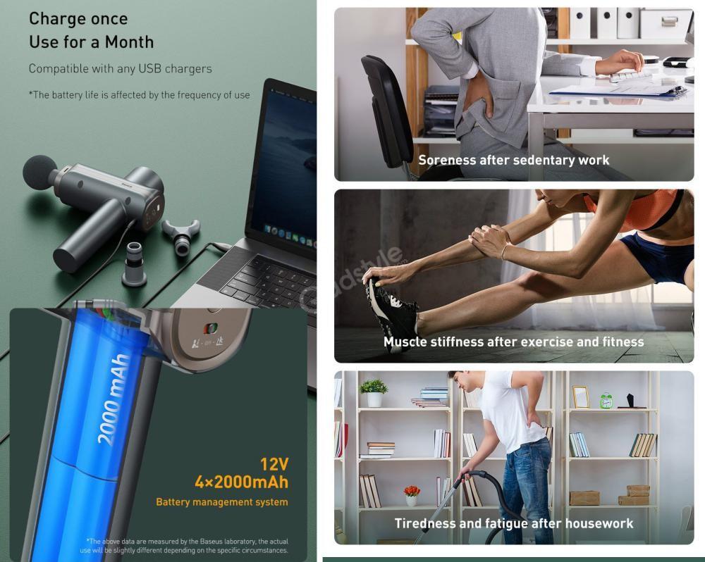 Baseus Dual Mode Massage Gun Muscle Relaxer Massager (3)