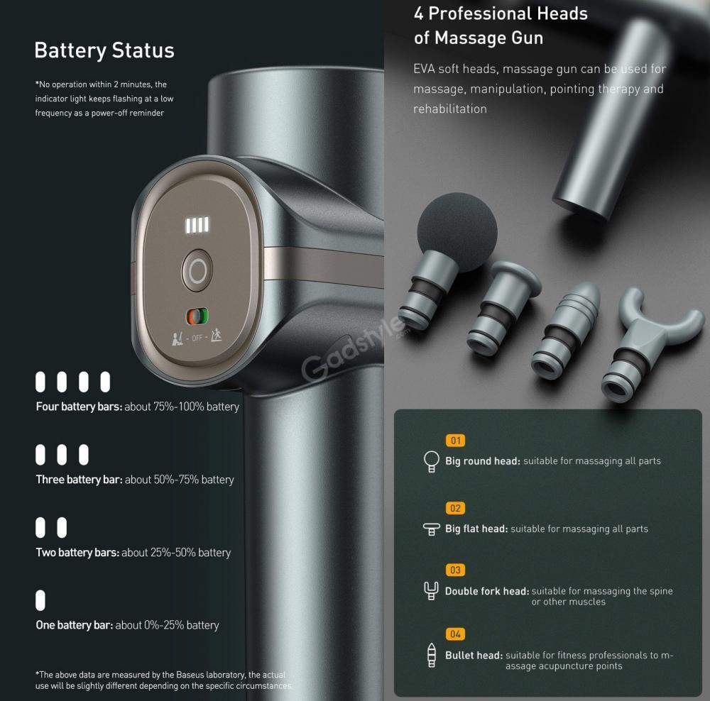 Baseus Dual Mode Massage Gun Muscle Relaxer Massager (5)