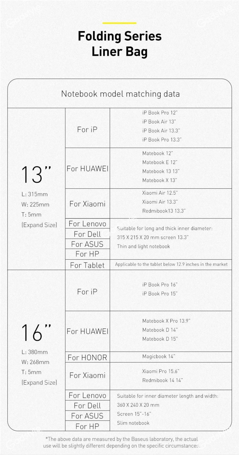 Baseus Folding Series Laptop Bag Laptop Macbook Notebook 13 16 Inch