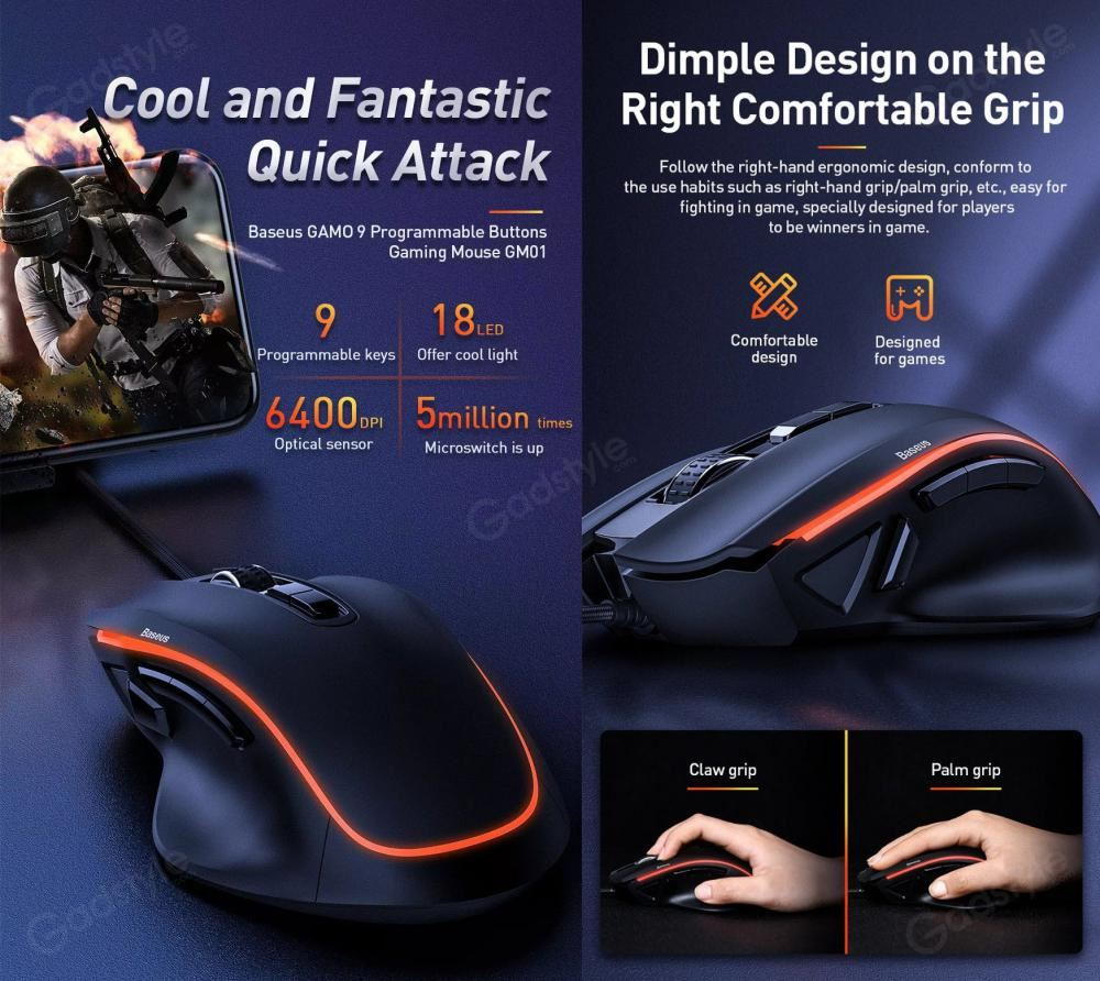Baseus Gamo Gm01 Programmable 9 Buttons Gaming Mouse (9)