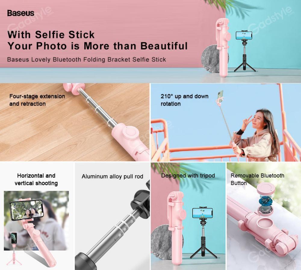 Baseus Lovely Bluetooth Folding Bracket Selfie Stick (4)