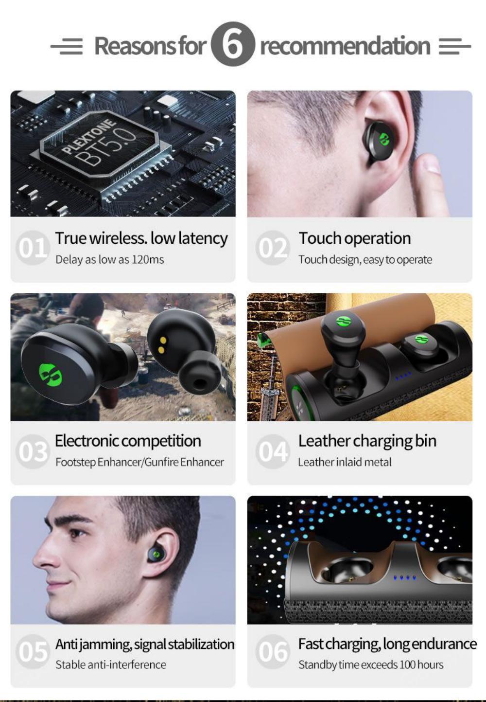 Plextone 4free True Wireless Gaming Earbuds With Mic (6)