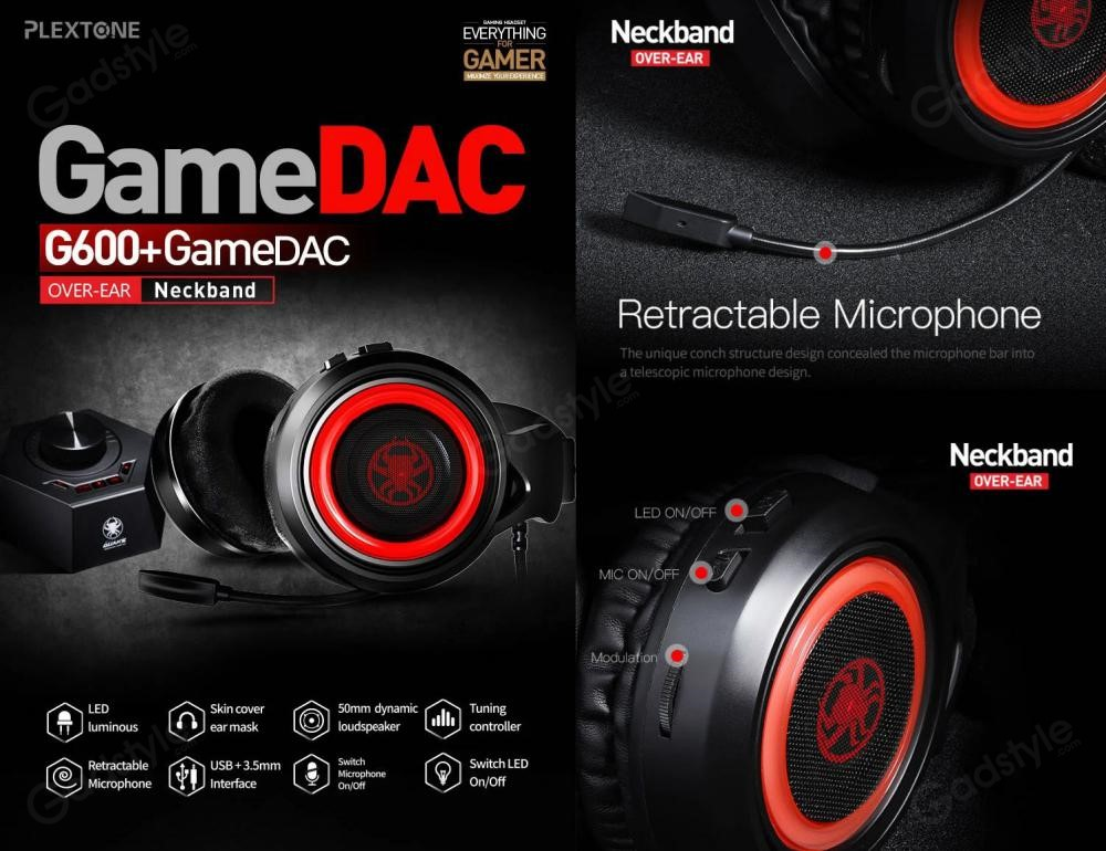 Plextone G600 Gaming Wired Dynamic Headphonegamedac (3)