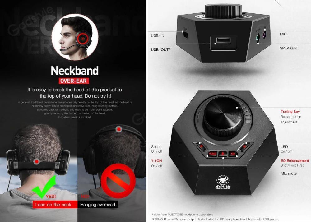 Plextone G600 Gaming Wired Dynamic Headphonegamedac (4)