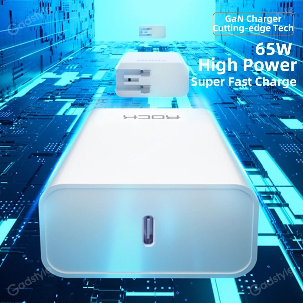 Rock Gan Charger 65w Fast Pd3 0 Pps Qc3 0 Fcp Charger (3)