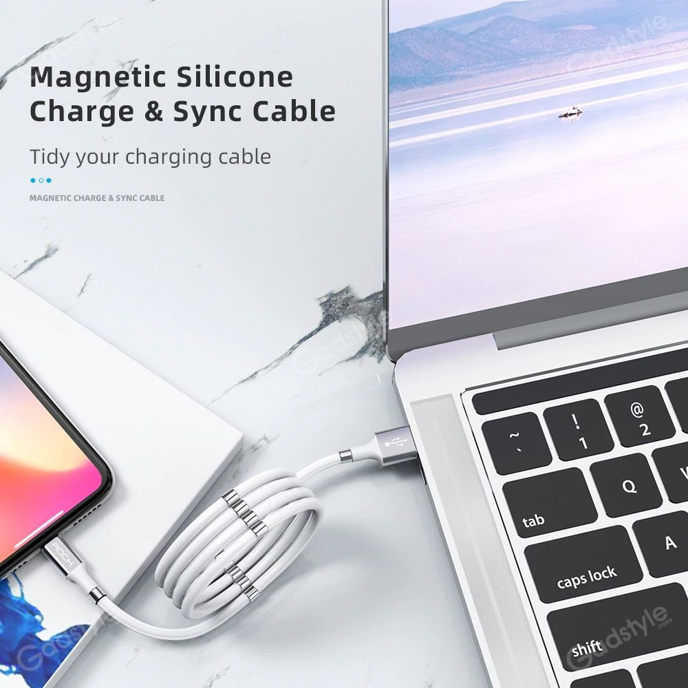 Rock Magnetic Data Cable Self Winding Fast Charging Data Cable For Iphone (5)