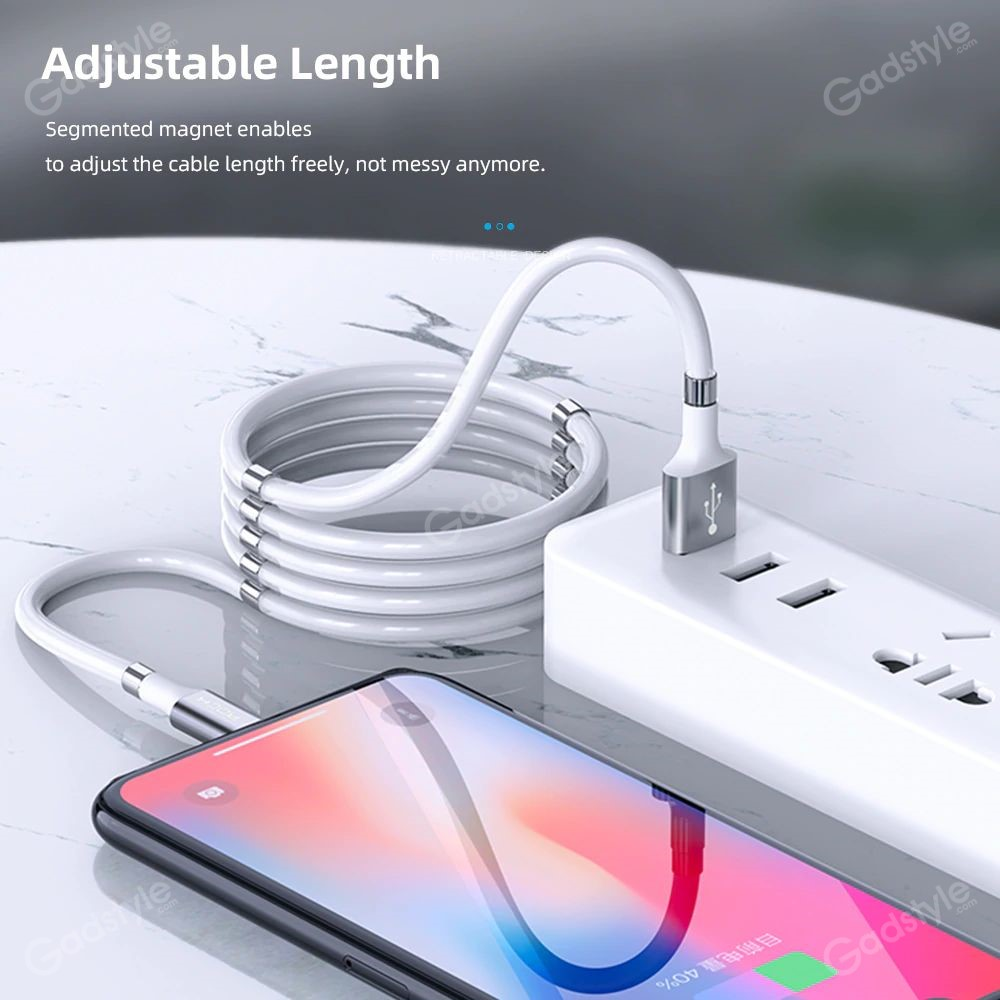 Rock Magnetic Data Cable Self Winding Fast Charging Data Cable For Iphone (6)